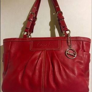 Coach red leather tote handbag